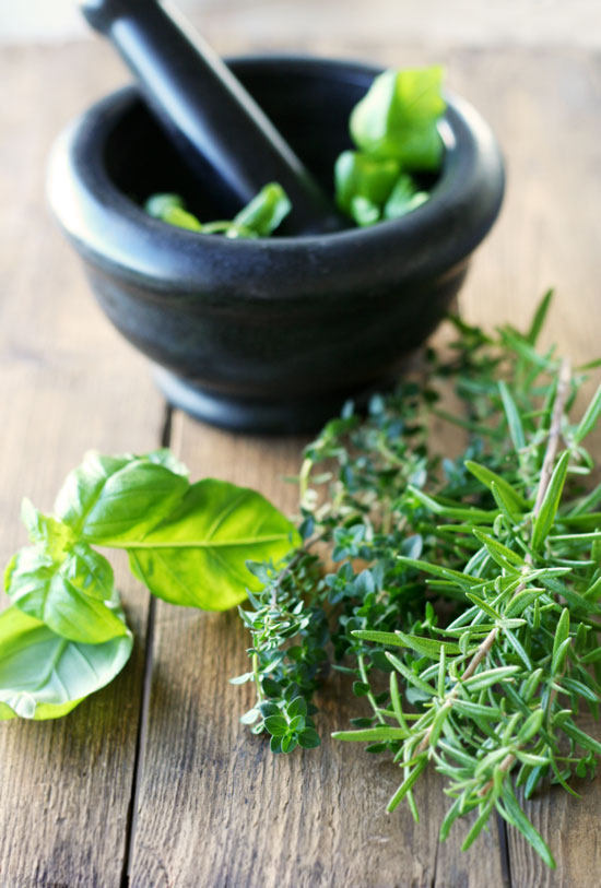 basil, lemon thyme and rosemary for lemon herb butter
